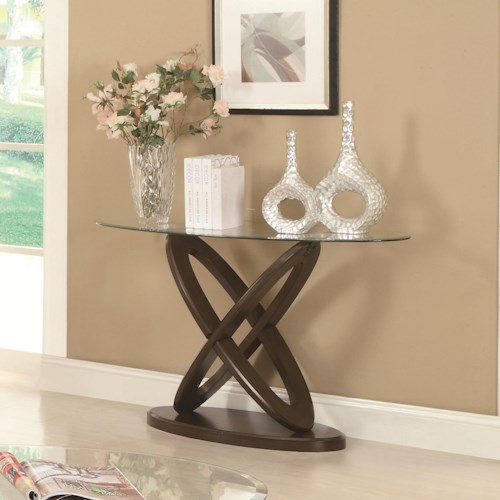 Coaster Occasional Group Glass Top Intersecting Ring Sofa Table