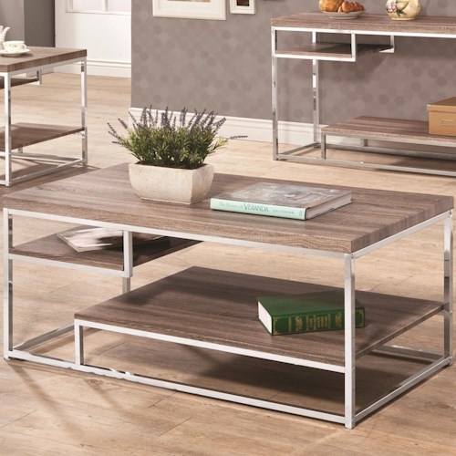 Coaster Occasional Group 702830 Wood Top Coffee Table with Storage Shelves