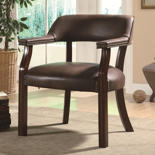 Coaster Office Chairs Traditional Vinyl Office Side Chair with Nailhead Trim
