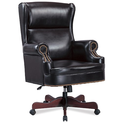 Coaster Office Chairs Traditional Faux Leather Winged Executive Chair