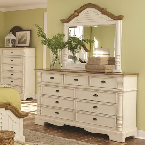 Coaster Oleta 9 Drawer Dresser and Mirror Set with Pilaster Detail