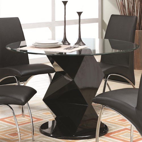 Coaster Ophelia Contemporary Glass Top Dining Table with Zigzag Pedestal