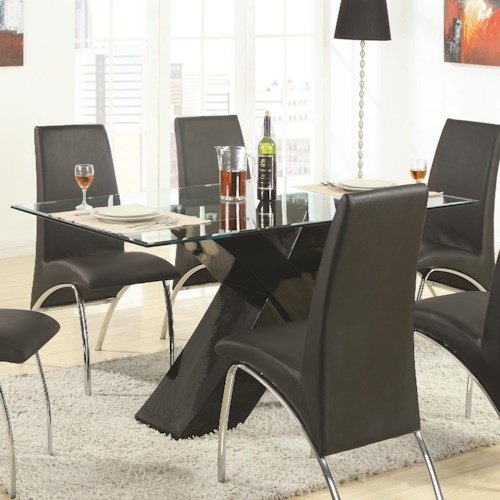 Coaster Ophelia Contemporary Glass Top Dining Table with Black X Pedestal