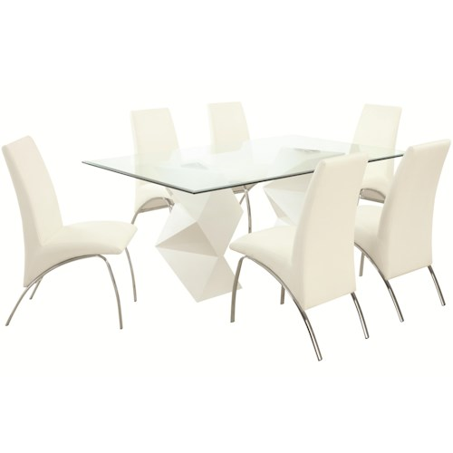 Coaster Ophelia Contemporary Seven Piece Dining Set with Rectangular Glass Top Table