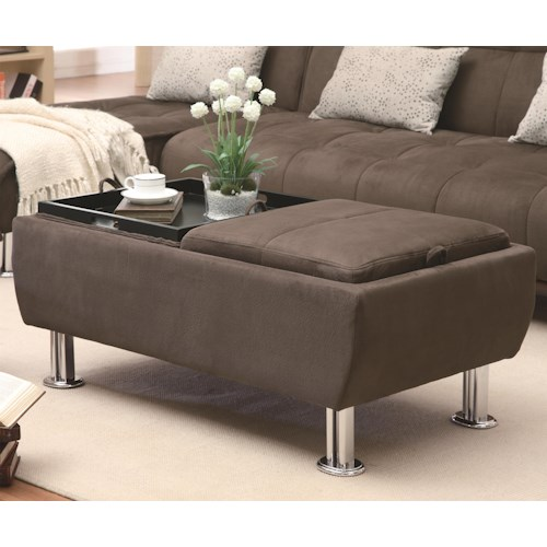 Coaster Ottomans Casual Styled Ottoman with Flip-Over Serving Trays