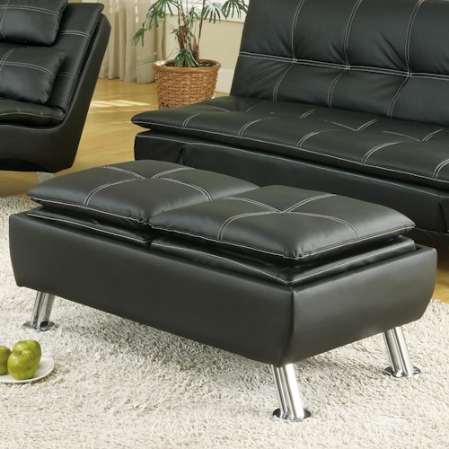 Coaster Ottomans Faux Leather Storage Ottoman with Reversible Tray Tops