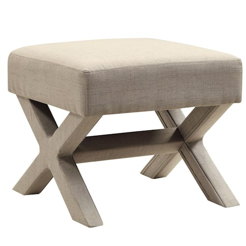 Coaster Ottomans Fabric Ottoman with X-Shaped Base