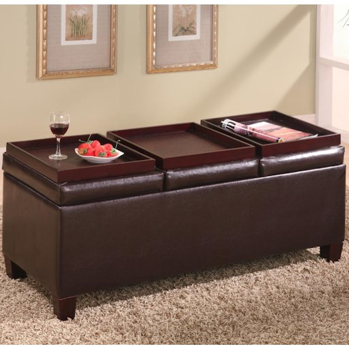 Coaster Ottomans Contemporary Faux Leather Storage Ottoman with Reversible Trays