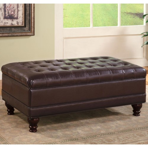 Coaster Ottomans Traditional Oversized Faux Leather Storage Ottoman