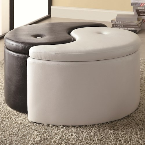 Coaster Ottomans Ying-Yang Storage Ottoman Furniture Piece with Contemporary Style