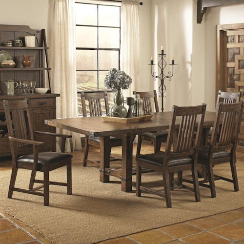 Coaster Padima Seven Piece Rustic Standard Height Dining Set