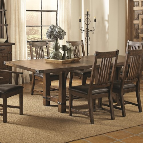 Coaster Padima Rustic Rough-Sawn Dining Table with Extension Leaf and Dark Metal Bracket Hardware