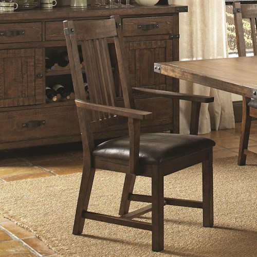 Coaster Padima Rustic Dining Arm Chair with Faux Leather Cushion
