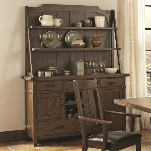 Coaster Padima Rustic Rough-Sawn Buffet and Hutch with Metal Bracket Hardware and Wine Storage