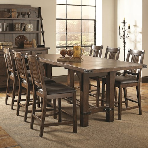 Coaster Padima Seven Piece Rustic Counter Height Dining Set