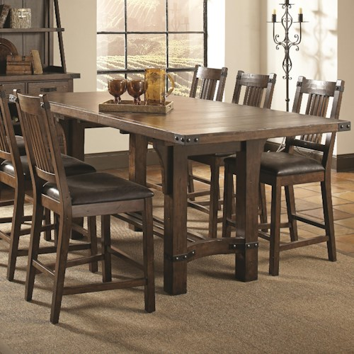 Coaster Padima Rustic Rough-Sawn Counter Height Table with Extension Leaf and Dark Metal Bracket Hardware