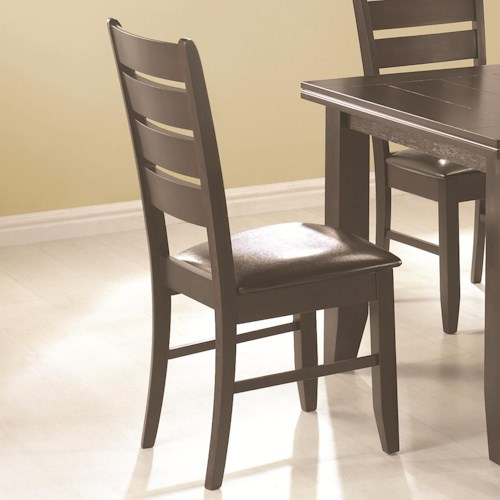 Coaster Page Contemporary Slat Back Dining Side Chair with Upholstered Seat