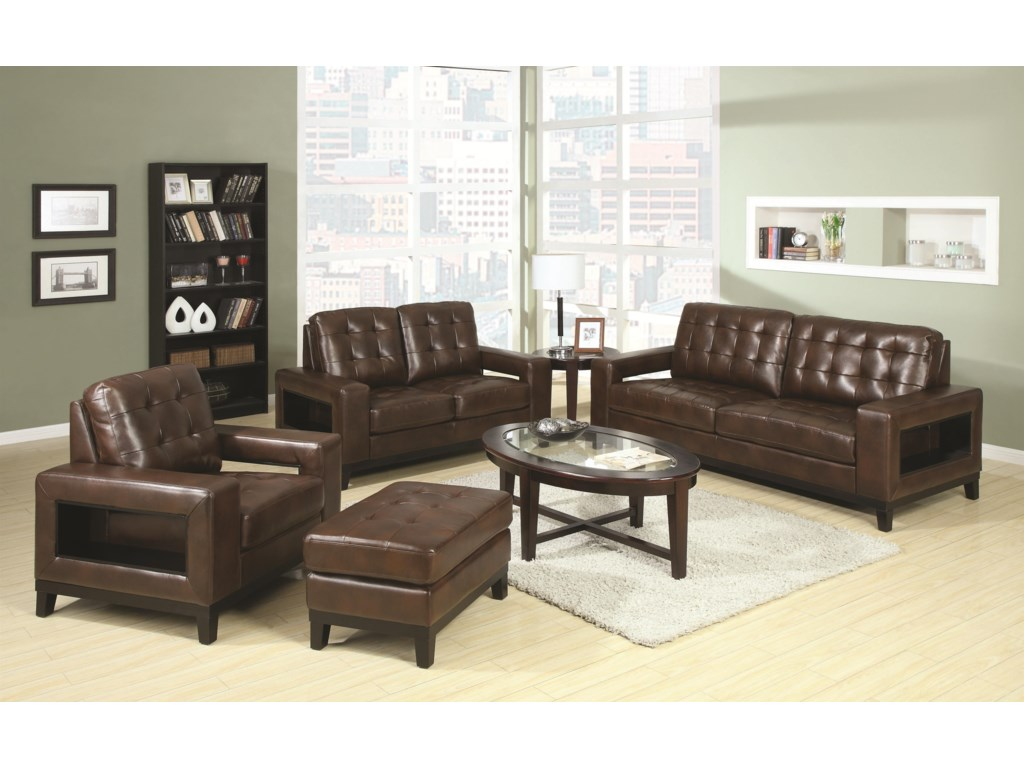 Shown with Chair, Ottoman, and Loveseat