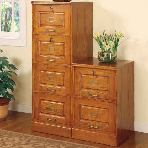 Coaster Palmetto Oak File Cabinet with 4 Drawers