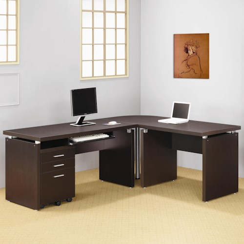 Coaster Skylar Contemporary L Shaped Computer Desk