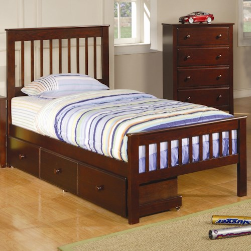 Coaster Parker Twin Slat Bed with Underbed Storage Drawer Unit