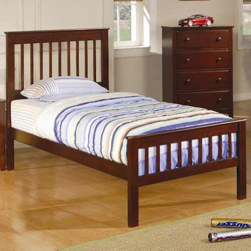 Coaster Parker Twin Slat Headboard & Footboard Bed