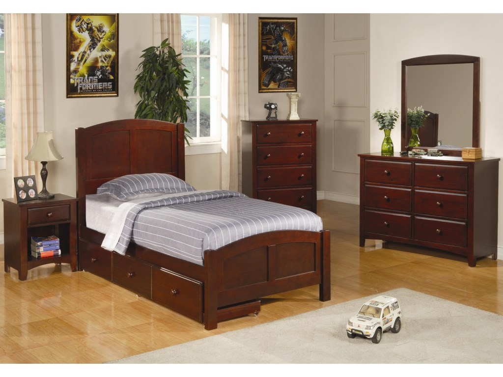 Shown in Room Setting with Nightstand, Chest, Dresser, and Mirror