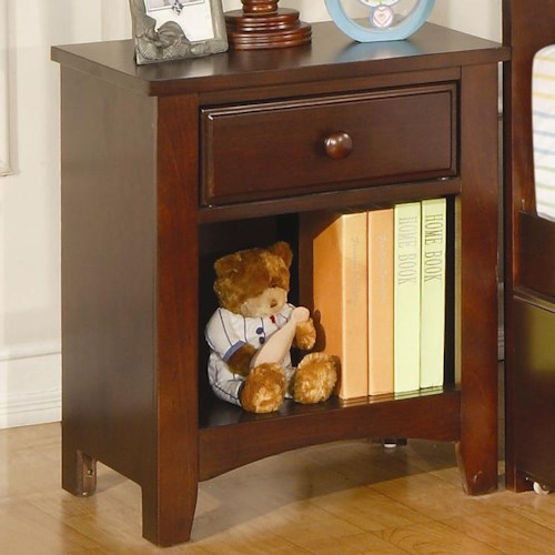 Coaster Parker Nightstand with Drawer and Shelf