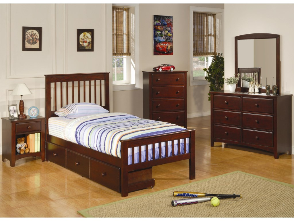 Shown in Room Setting with Nightstand, Bed with Storage, Dresser, and Mirror