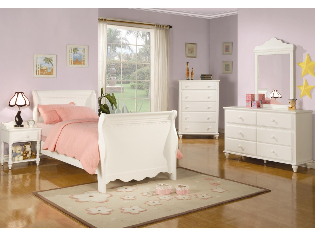 Chest Shown in Room Setting with Nightstand, Bed, Dresser and Mirror