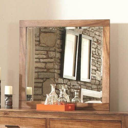 Coaster Peyton Mirror with Beveled Glass and Wood Frame