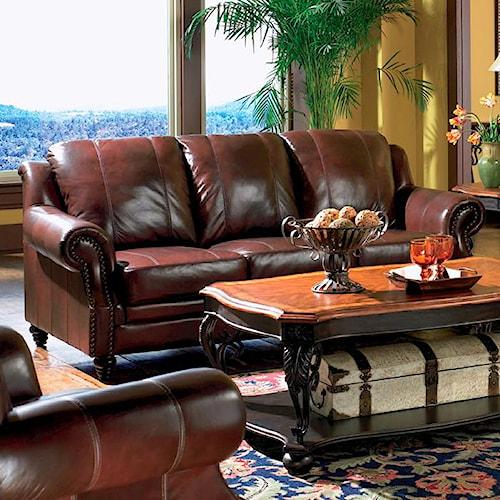 Coaster Princeton Rolled Arm Leather Sofa