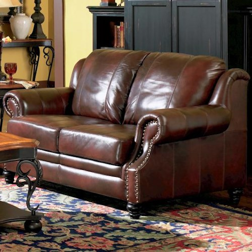 Coaster Princeton Leather Love Seat with Nail Head Trim