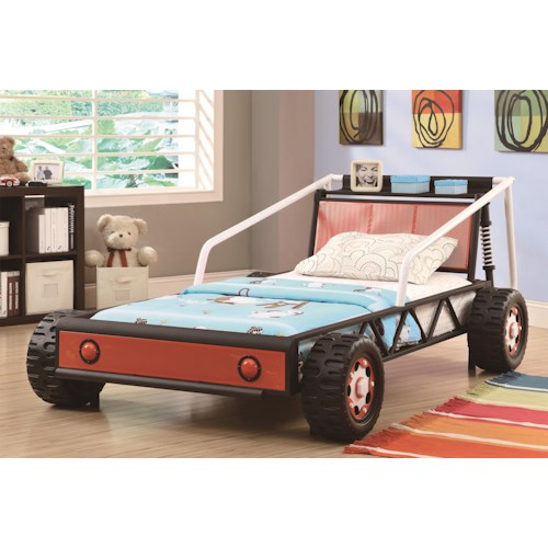 coaster novelty beds twin size youth race car bed