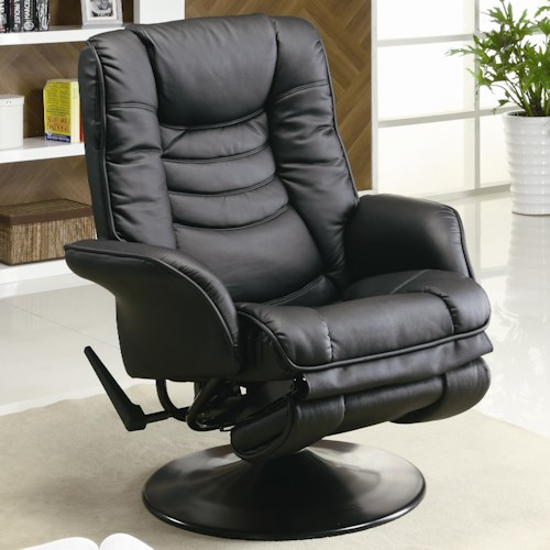 Coaster Recliners Casual Leatherette Swivel Recliner
