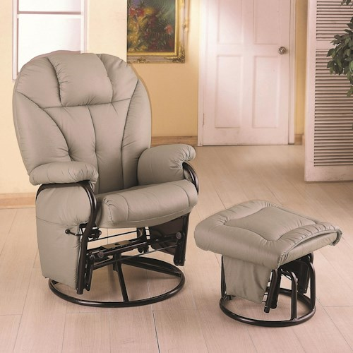 Coaster Recliners with Ottomans Leatherette Recliner with Matching Ottoman