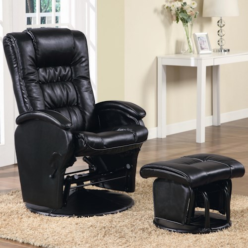 Coaster Recliners with Ottomans Casual Leather Like Glider with Matching Ottoman
