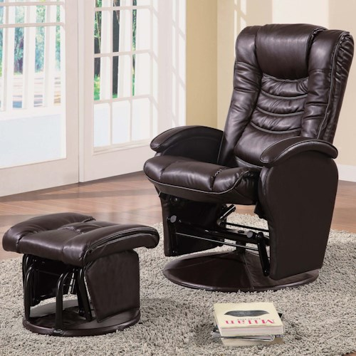 Coaster Recliners with Ottomans Casual Glider Recliner Chair with Matching Ottoman