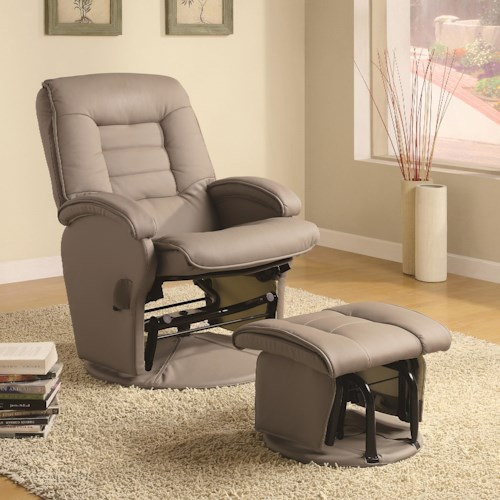 Coaster Recliners with Ottomans Leather Like Vinyl Glider with Matching Ottoman