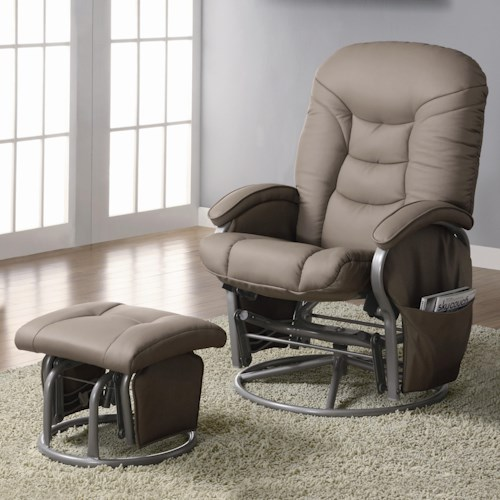 Coaster Recliners with Ottomans Casual Leatherette Glider Recliner with Matching Ottoman