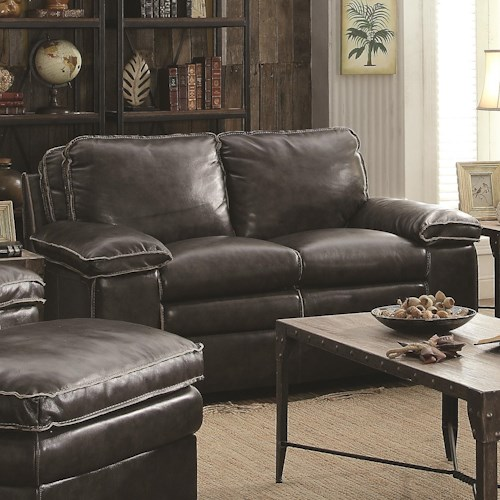 Coaster Regalvale Loveseat in Leather Match Upholstery