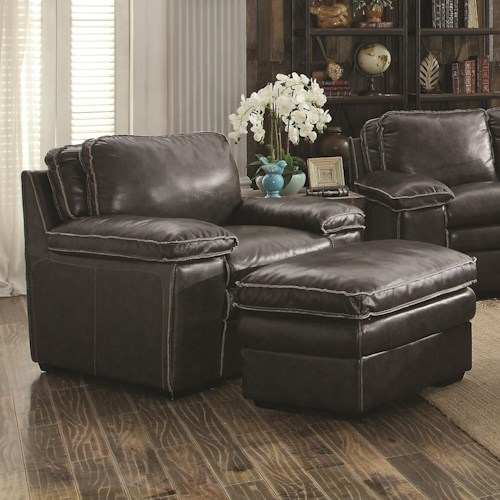 Coaster Regalvale Chair and Ottoman with Leather Match Upholster