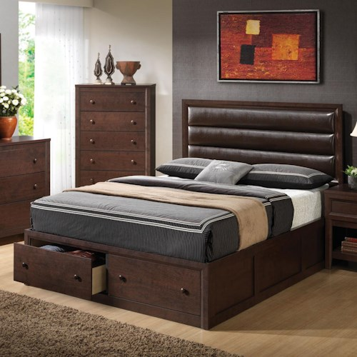 Coaster Remington King Platform Bed w/ Upholstered Headboard