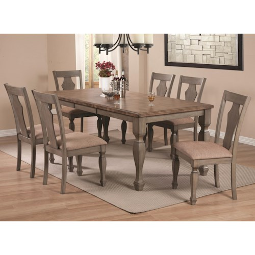 Coaster Riverbend 7-Piece Two-Tone Table Set