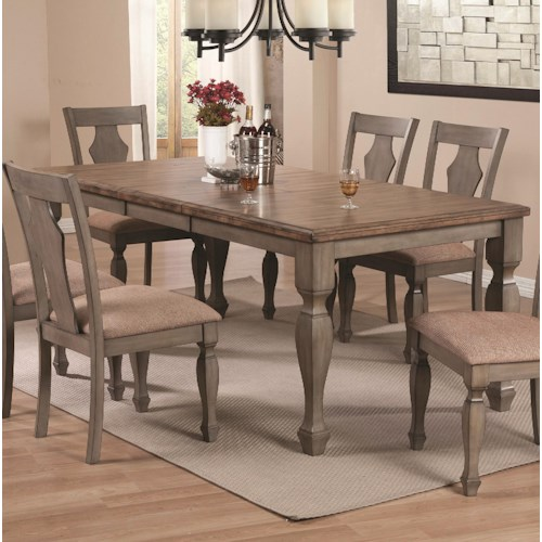 Coaster Riverbend Two-Tone Table with Leaf in Antique Gray Finish