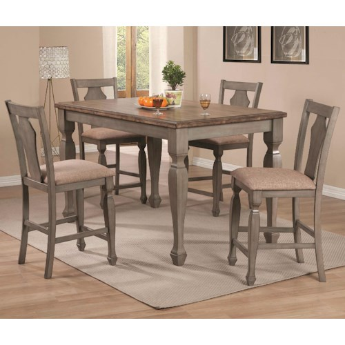 Coaster Riverbend 5-Piece Two-Tone Counter Table Set