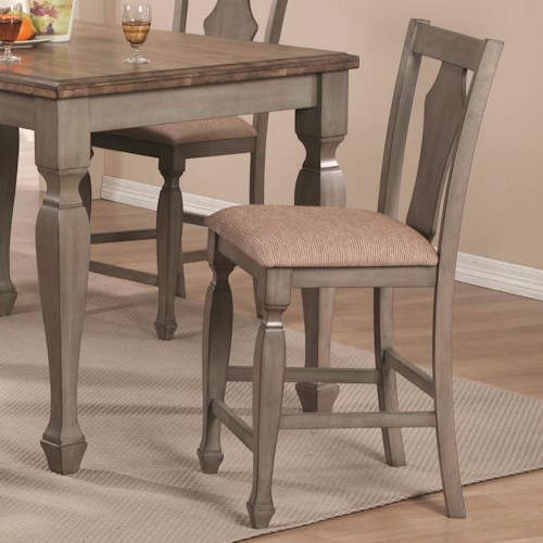 Coaster Riverbend Counter Height Chair in Antique Gray Finish