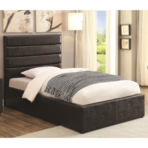 Coaster Riverbend Full Black Leatherette Upholstered Bed with Lift Top Storage