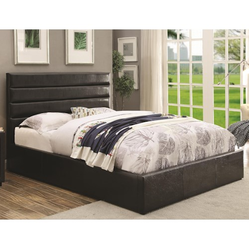 Coaster Riverbend California King Black Leatherette Upholstered Bed with Lift Top Storage
