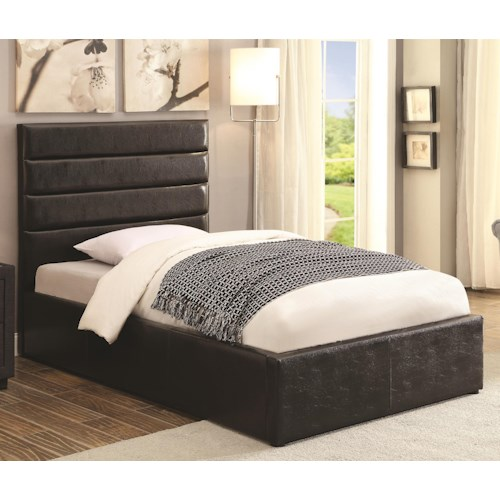 Coaster Riverbend Twin Black Leatherette Upholstered Bed with Lift Top Storage